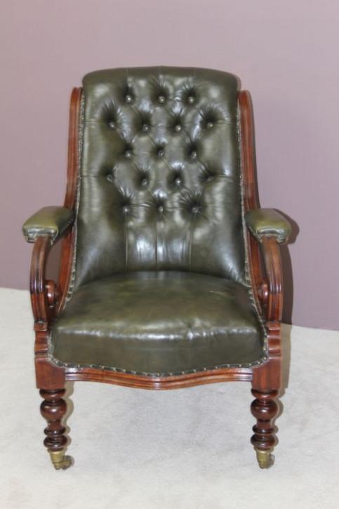 Viktorianischer antiker Mahagoni Stuhl Echtleder Sessel englisch ca 1850