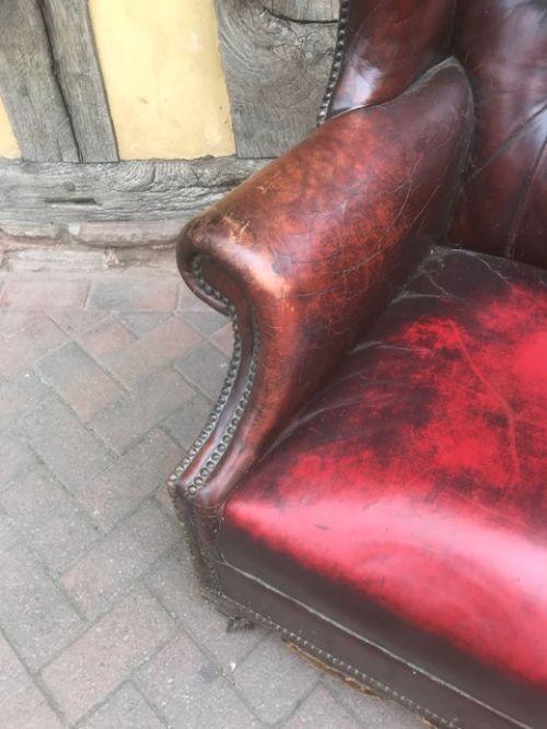 Antiker Echtleder Sessel Chesterfield Ohrensessel Vintage 19. Jh