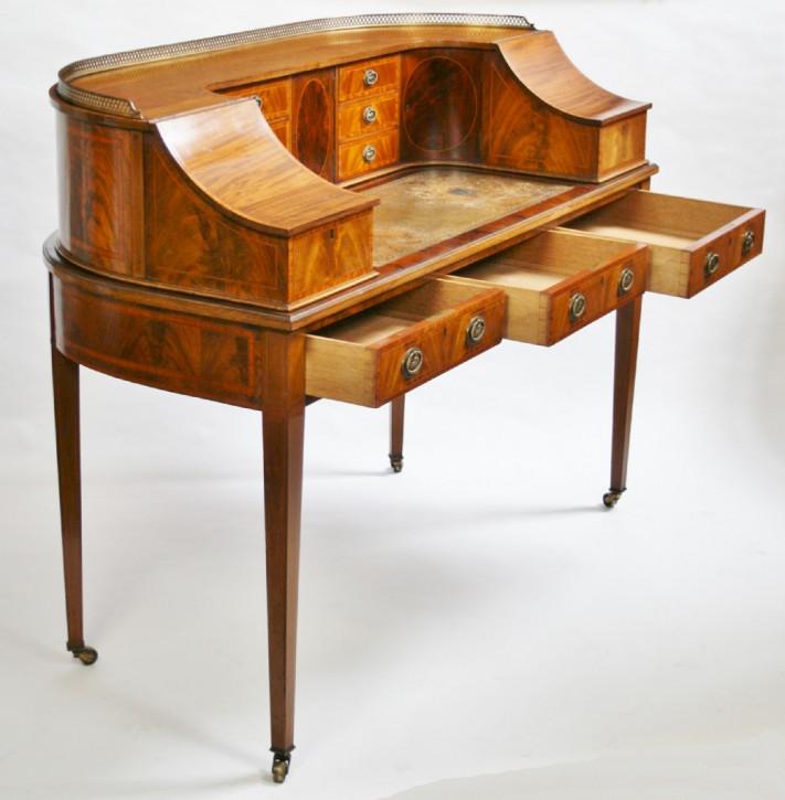 Englischer Edwardianischer Antiker Mahagoni Satinholz Carlton Stil Schreibtisch ca. 1900