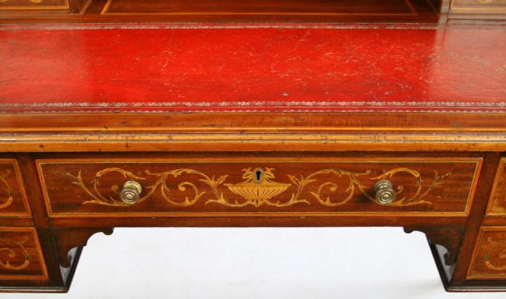 Edwardianischer Mahagoni Schreibtisch Massivholz antik ca 1890