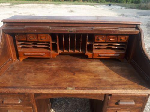Edwardianischer britischer Sekretär Eiche Rolltop Desk antik ca 1910