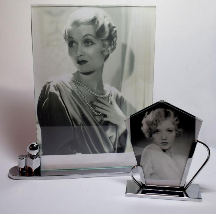 Französischer antiker Art Deco Bilderrahmen Chrom ca 1930