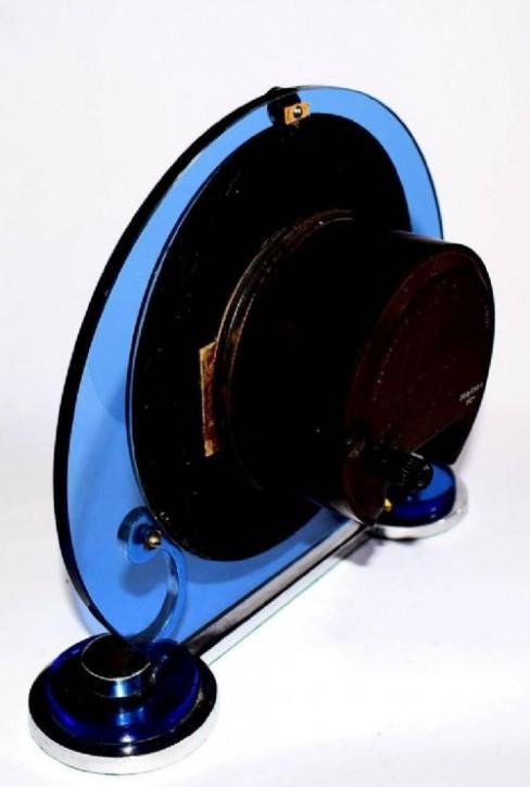 Art Deco Antike Englische blaue Glas Chrom Uhr ca. 1930
