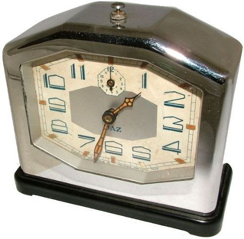 Art deco Antike Englische Chrome Bakelite Jaz Uhr ca. 1930