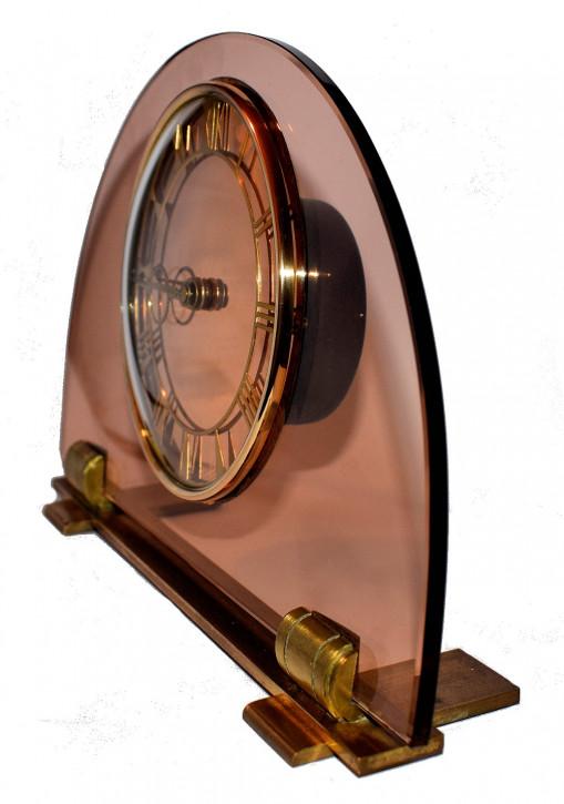 Englische Antike Art Deco pfirichfarbende Glas Uhr ca. 1930
