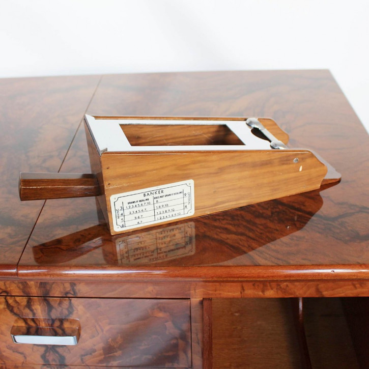 Antiker Englischer Asprey Art Deco Nussbaum Spieltisch ca. 1930