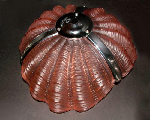 Art Deco Englische Antike Muschel Deckenleuchte ca. 1930