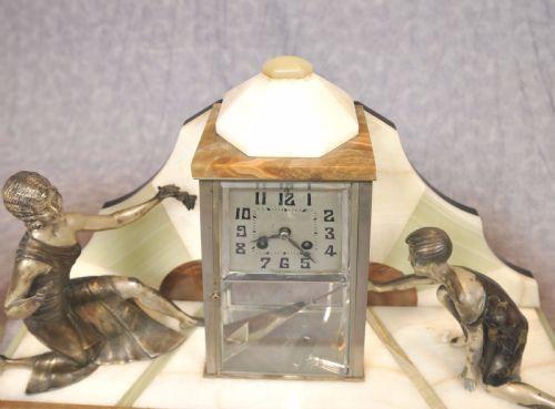 Französische Antike Art Deco Uhr Figurenset ca. 1920
