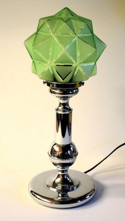 Art Deco Englische Antike Glas Tischlampe ca. 1930
