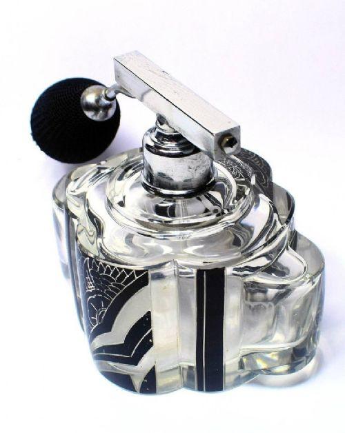 Art Deco Englischer Antiker Parfüm Zerstäuber Glasflasche ca. 1930
