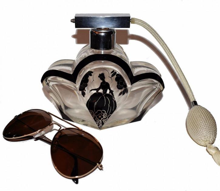 Antike Englische Art Deco Glas Parfümflasche ca. 1930