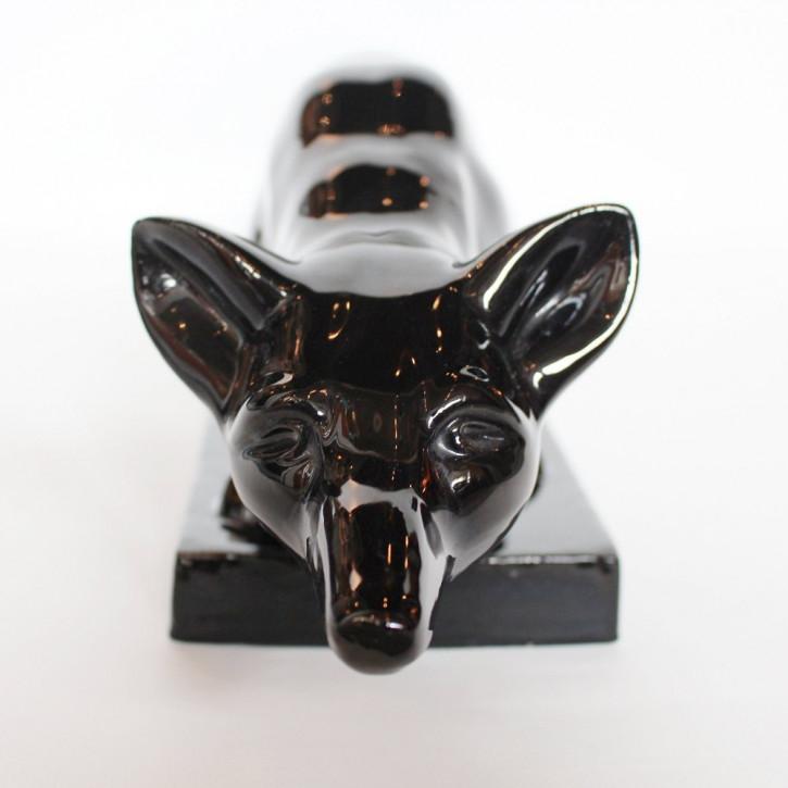 Französischer Antiker Art Deco Keramik Fuchs von Le Manceau ca. 1930