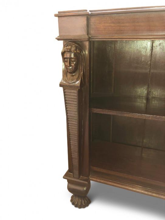 Englisches Antikes Paar Padauk Holz Empire Stil Bücherregale ca. 1930