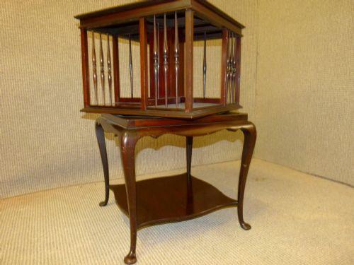 Englisches Antikes Mahagoni Dreh Bücherregal ca. 1900