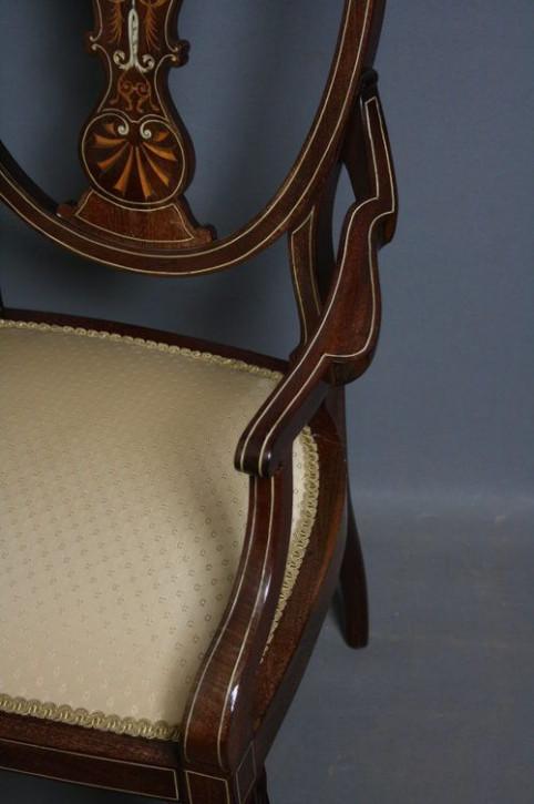 Edwardianischer Mahagoni Esszimmer Stuhl antik ca 1890