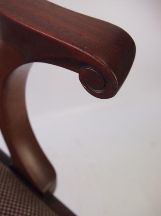 Edwardianischer antiker Chippendale Mahagoni Schreibtisch Stuhl ca 1890