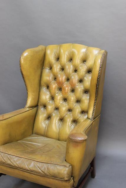 Edwardianischer antiker Mahagoni Echtleder Sessel englisch ca 1890