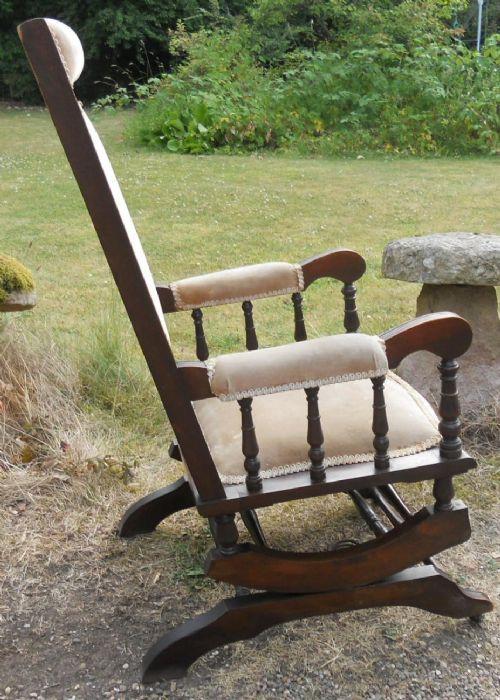 Edwardianischer antiker Mahagoni Schaukelstuhl englisch ca 1900