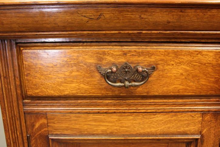 Antikes viktorianisches Sideboard Eiche Spiegel englisch ca 1890