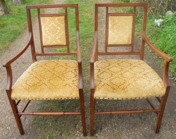Antikes Englisches Edwardianisches Paar Mahagoni Stühle ca. 1900