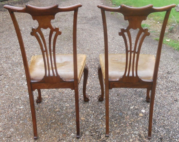 Edwardianisches Antikes Englisches Paar Mahagoni Esszimmer Stühle ca. 1920