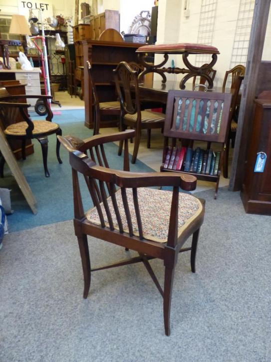 Edwardianischer Antiker Englischer Mahagoni Eckstuhl chair