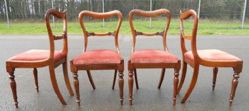 4 Viktorianische Antike Englische Palisander Esszimmerstühle ca. 1840