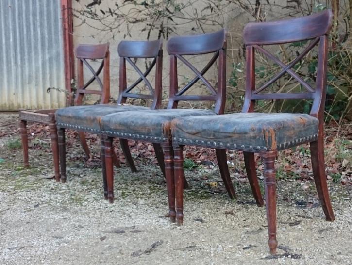 4 George III. Antike Englische Esszimmerstühle ca. 1800