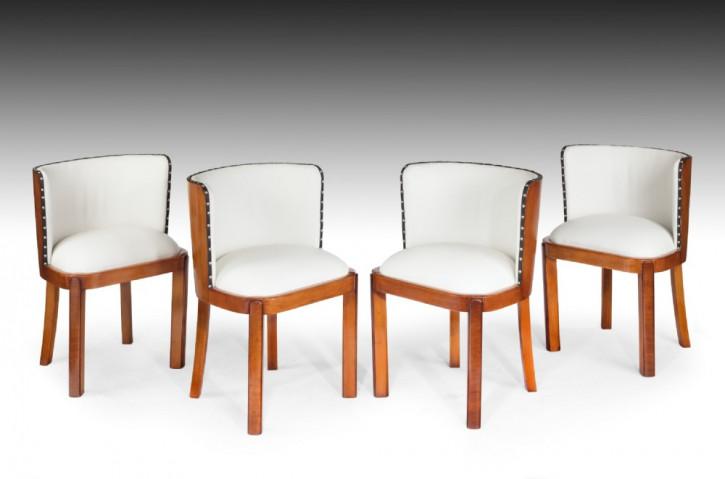 4 Art Deco Antike Englische Nussbaum Leder Esszimmerstühle ca. 1930