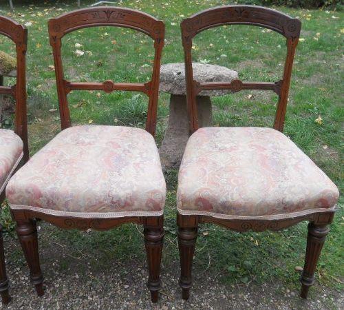4 Edwardianische Englische Antike Mahagoni Esszimmerstühle ca. 1890
