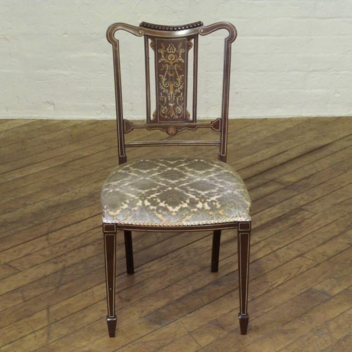 4 Edwardianische Antike Englische Mahagoni Stühle ca. 1900