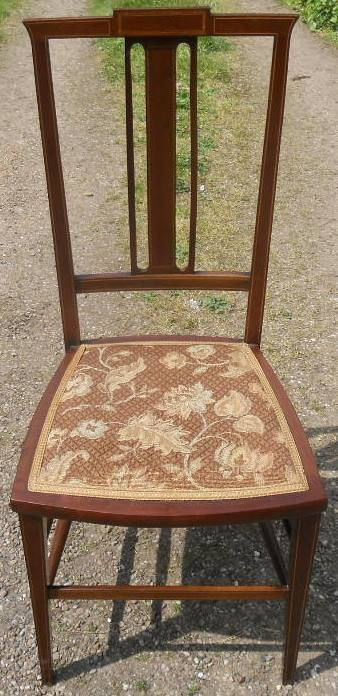 4 Edwardianische Antike Englische Mahagoni Salon Stühle ca. 1900