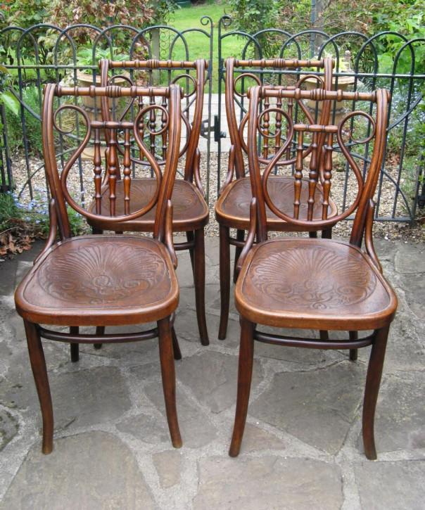 4 Englische Antike Bugholz Stühle ca. 1900