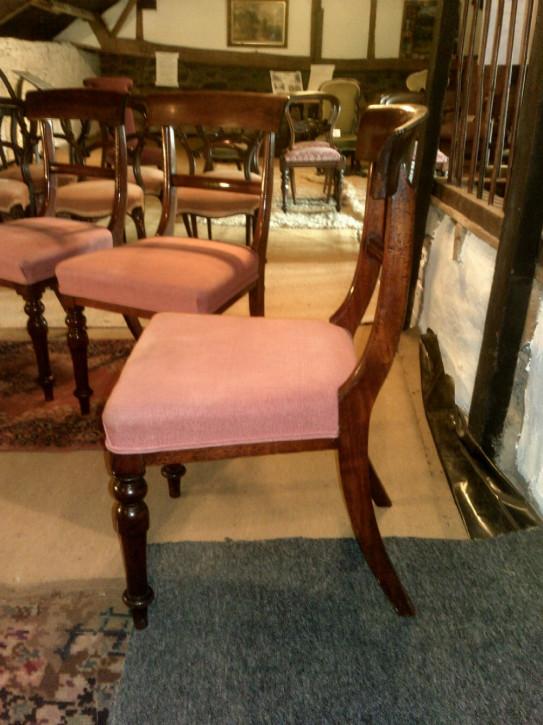 4 Viktorianische Englische Antike Mahagoni Esszimmerstühle ca. 1860