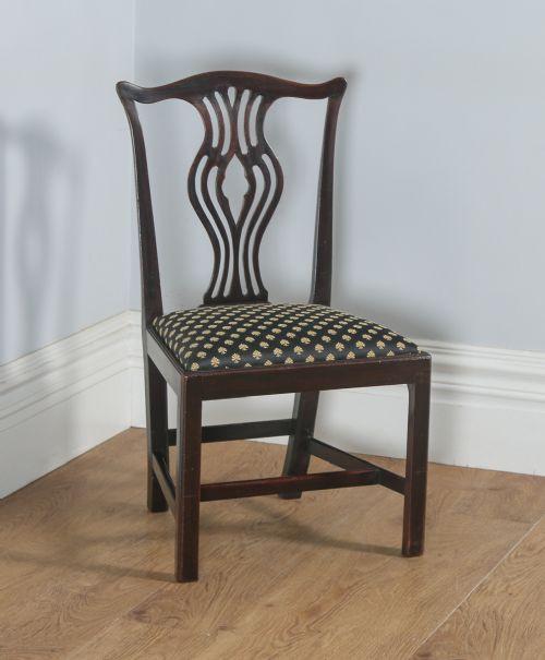 4 Georgianische Englische Antike Mahagoni Stühle im Chippendale Stil ca. 1800