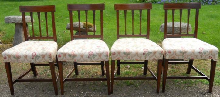 4 Antike Englische Georgainische Mahagoni Esszimmerstühle ca. 1800