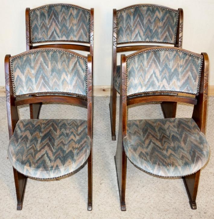 4 Antike Englische Arts & Crafts Eichen Kino Stühle ca. 1920