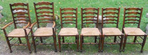 6 Antike Englische Ulmen Esszimmerstühle ca. 1920