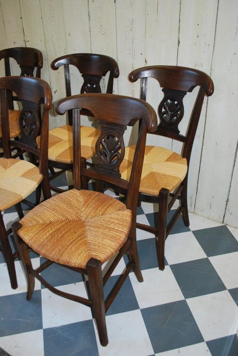 6 Französische Antike Landhaus Stühle ca. 1880