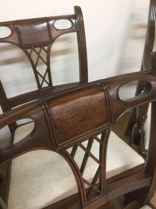 6 Antike Englische Mahagoni Esszimmerstühle im Hepplewhite Stil ca. 1920