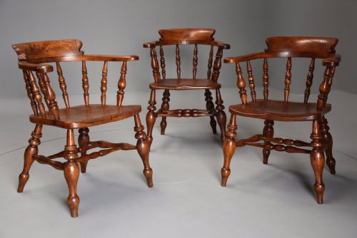 6 Englische Antike Ulmen Windsor Stühle ca. 1860