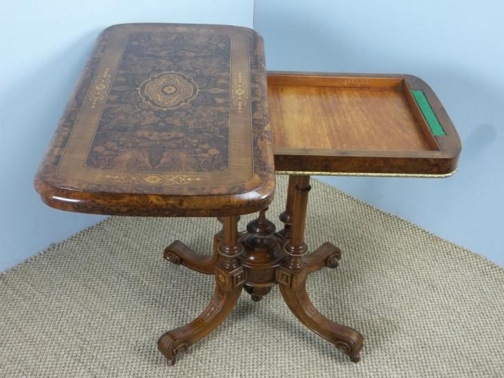 Viktorianischer britischer Nussbaum Konsolentisch Kartentisch Beistelltisch antik ca 1850