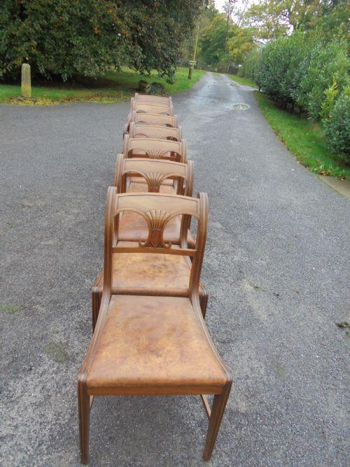 8 Regency Englische Mahagoni Leder Esszimmer Stühle ca. 1800