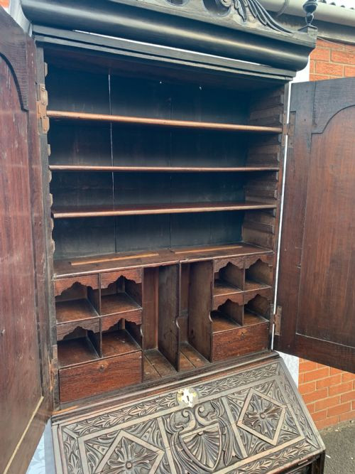 Antiker Massivholz Aufsatzsekretär Bureau Bookcase englisch 18. Jh