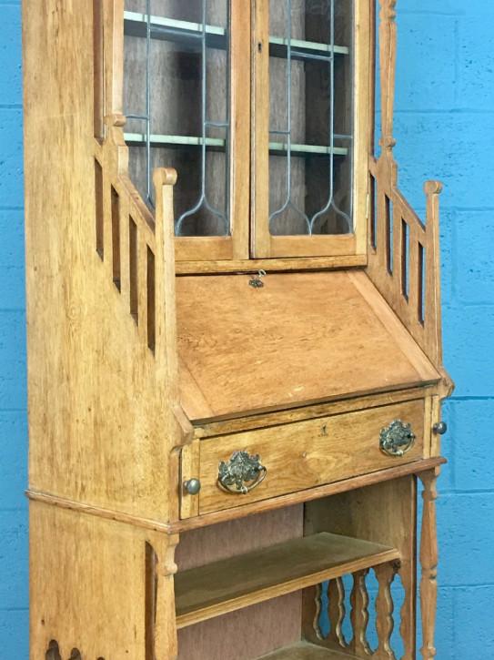 Antiker englischer Arts & Crafts Aufsatzsekretär Eiche Bureau Bookcase ca 1900