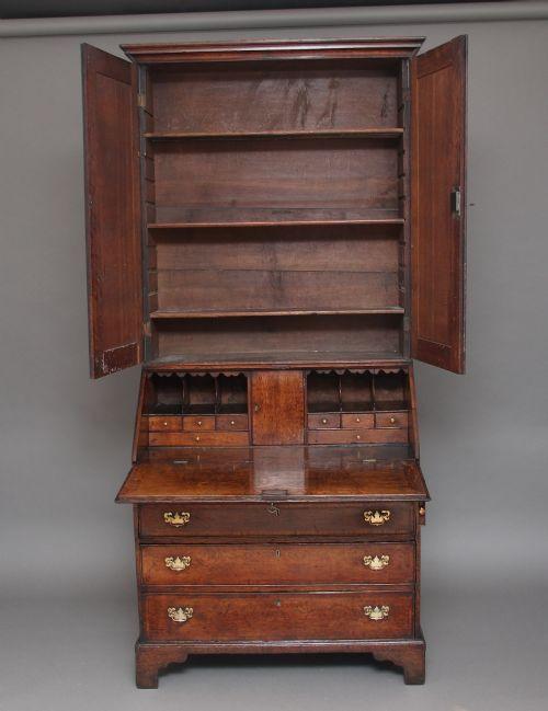 Antiker englischer Aufsatzsekretär Eiche Bureau Bookcase ca 1780