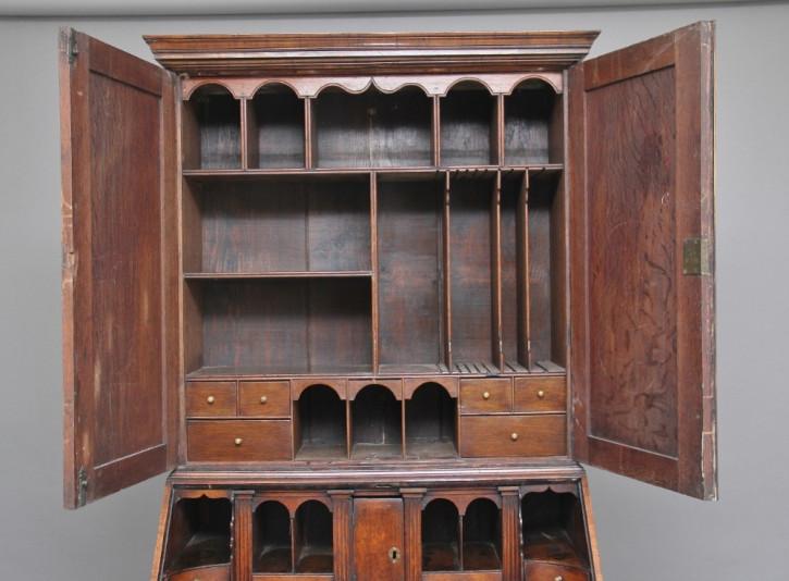 Antiker Aufsatzsekretär Nussbaum Bureau Bookcase englisch ca 1920