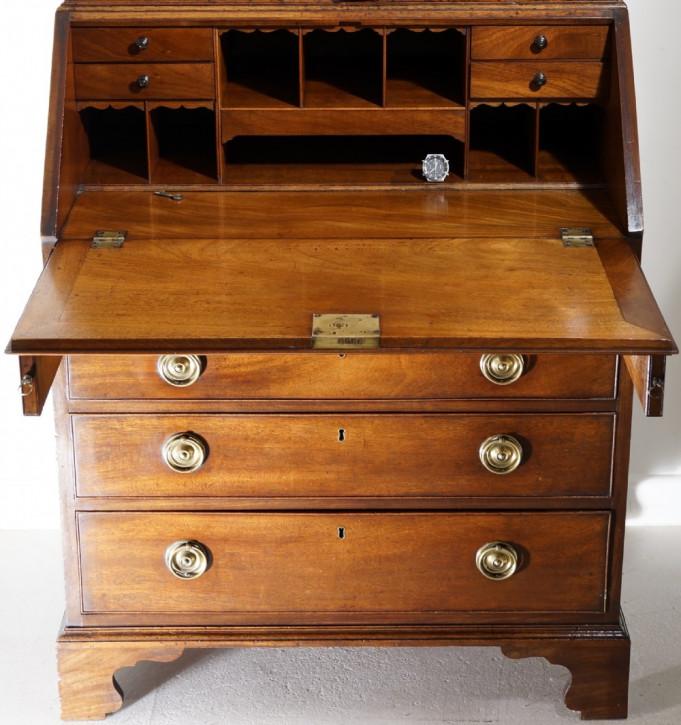 Georgianischer Mahagoni Aufsatzsekretär Bureau Bookcase antik ca 1800