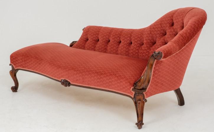Viktorianische Palisander Chaise Longue Stoff antik ca 1860