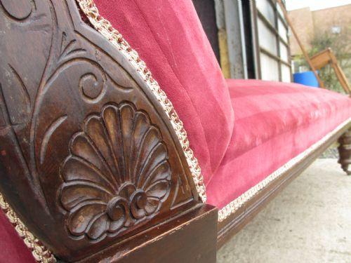 Viktorianische Mahagoni Chaiselongue Stoff antik englisch ca 1850